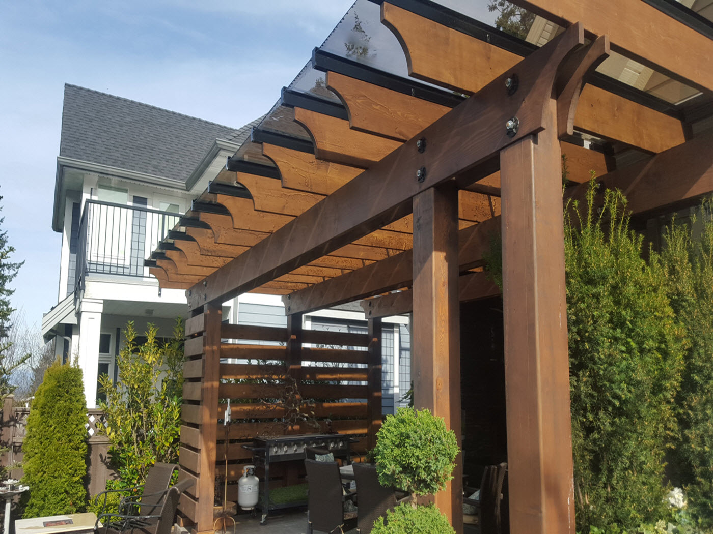 wood pergola glass